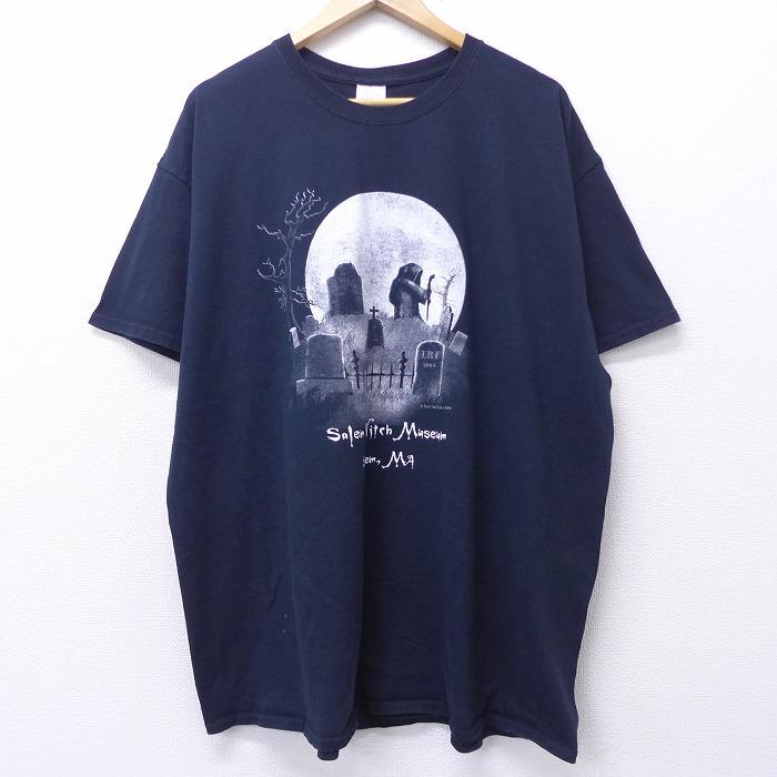 XL★古着 半袖 ビンテージ Tシャツ 00年代 00s セーラム魔女博物館 大きいサイズ コットン クルーネック 黒 ブラック 【spe】 20jul30 中古 メンズ