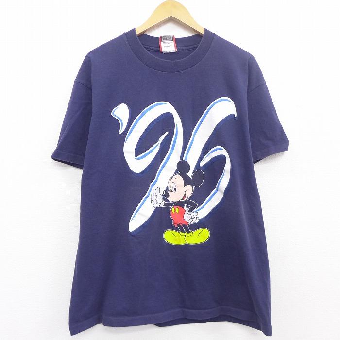 XL★古着 半袖 ビンテージ Tシャツ 90年代 90s ディズニー DISNEY ミッキー MICKEY MOUSE コットン クルーネック USA製 紺 ネイビー 【spe】 21apr06 中古 メンズ