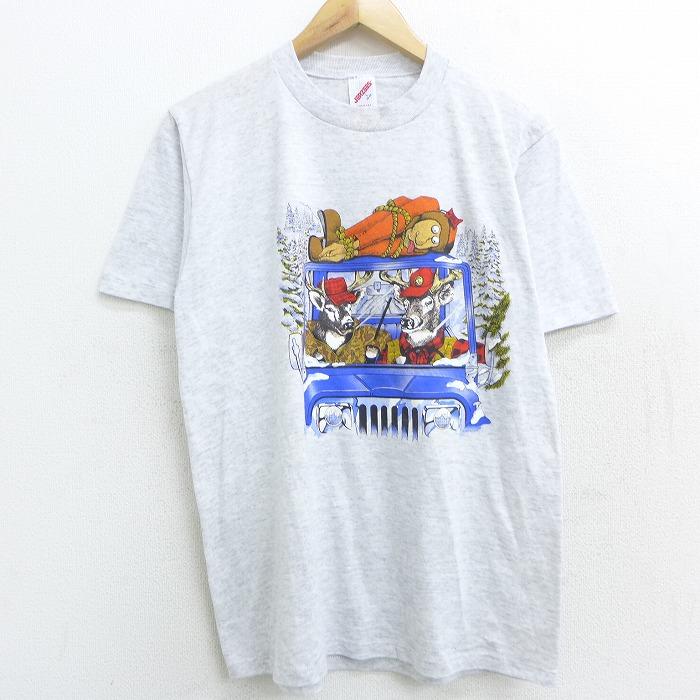 M★古着 半袖 ビンテージ Tシャツ 80年代 80s トナカイ 車 クルーネック USA製 薄グレー 霜降り 【spe】 21apr07 中古 メンズ