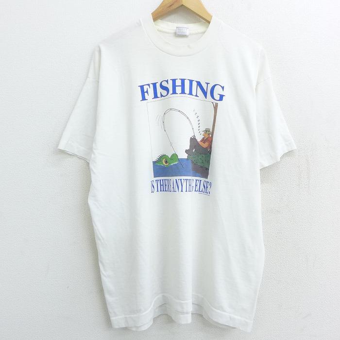 XL★古着 半袖 ビンテージ Tシャツ 90年代 90s フィッシング 釣り クルーネック USA製 白 ホワイト 【spe】 21apr22 中古 メンズ