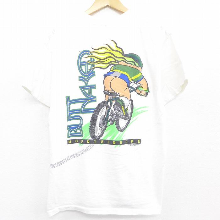 XL★古着 半袖 ビンテージ Tシャツ 90年代 90s 自転車 BUTTNAKED コットン クルーネック USA製 白 ホワイト 【spe】 21apr23 中古 メンズ