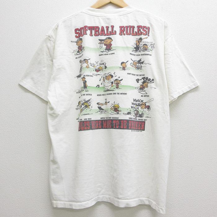 XL★古着 半袖 ビンテージ Tシャツ 90年代 90s ソフトボール 大きいサイズ コットン クルーネック 白 ホワイト 【spe】 21apr27 中古 メンズ