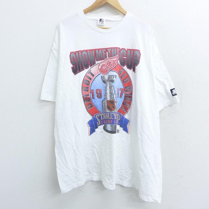 XL★古着 半袖 ビンテージ Tシャツ 90年代 90s スターター STARTER NHL デトロイトレッドウィングス 大きいサイズ コットン クルーネック USA製 白 ホワイト アイスホッケー 【spe】 21apr27 中古 メンズ