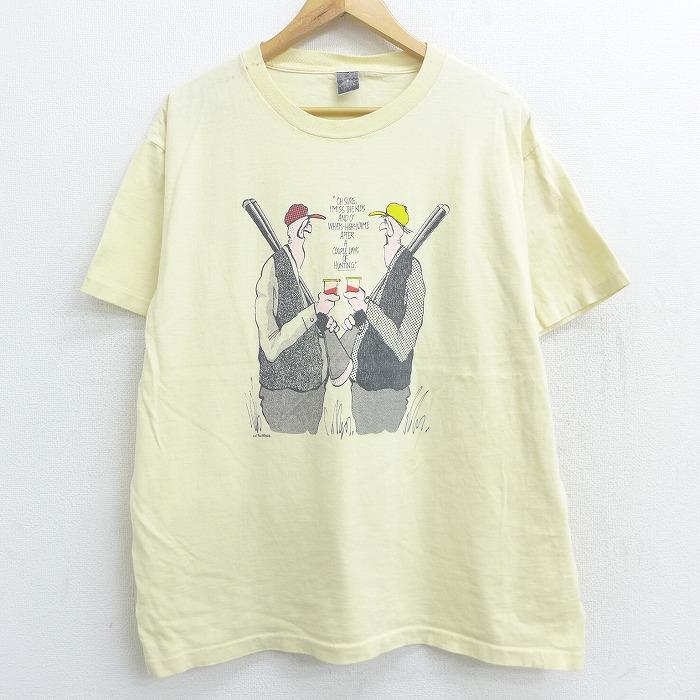 XL★古着 半袖 ビンテージ Tシャツ 80年代 80s 狩人 クルーネック 薄黄 イエロー 【spe】 21apr27 中古 メンズ