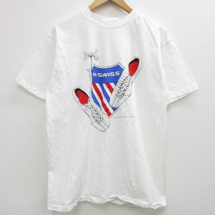 L★古着 半袖 ビンテージ Tシャツ メンズ 90年代 90s KSWISS ケースイス スニーカー コットン クルーネック USA製 白 ホワイト 【spe】 21jun08 中古