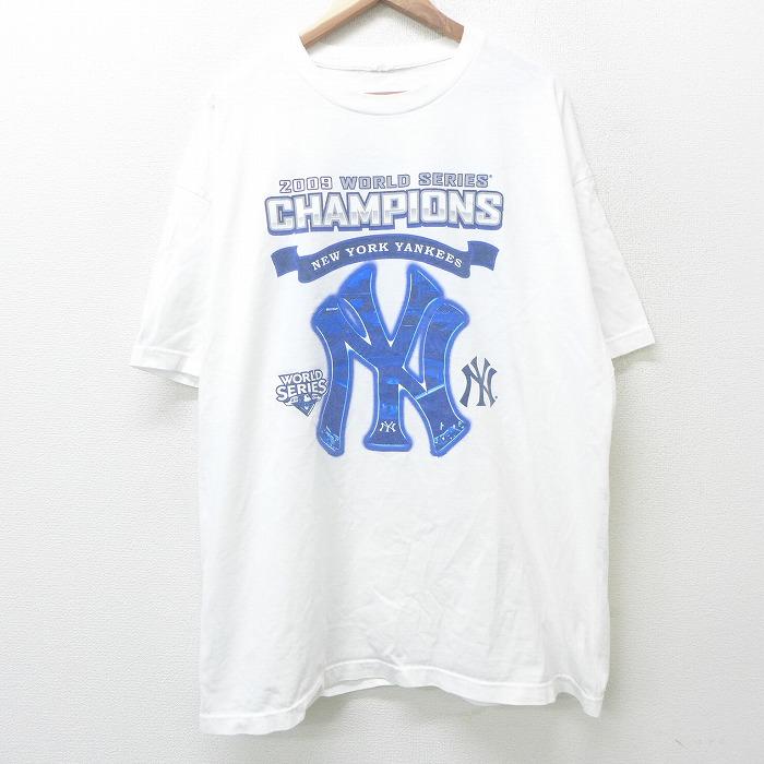 XL★古着 半袖 ビンテージ Tシャツ メンズ 00年代 00s MLB ニューヨークヤンキース ワールドシリーズチャンピオン 松井秀喜 MVP 大きいサイズ ロング丈 クルーネック 白 ホワイト メジャーリーグ ベースボール 野球 【spe】 21jun08 中古