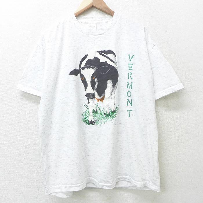 XL★古着 半袖 ビンテージ Tシャツ メンズ 90年代 90s ウシ バーモント 両面プリント 大きいサイズ コットン クルーネック USA製 白 ホワイト 霜降り 【spe】 21jun08 中古