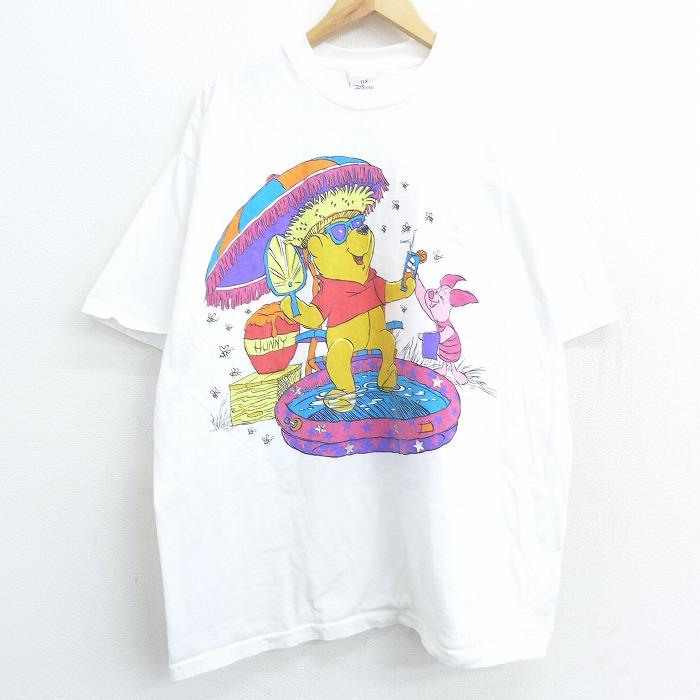 XL★古着 半袖 ビンテージ Tシャツ メンズ 90年代 90s ディズニー DISNEY くまのプーさん ピグレット ティガー 大きいサイズ クルーネック 白 ホワイト 【spe】 21jun09 中古