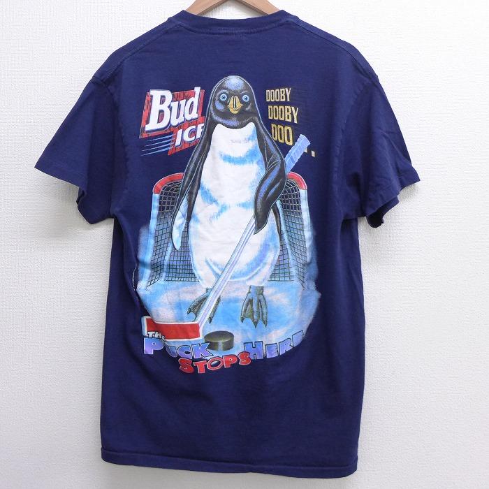 L★古着 半袖 ビンテージ Tシャツ メンズ 90年代 90s バドワイザー ペンギン コットン クルーネック USA製 紺 ネイビー 【spe】 21jun09 中古