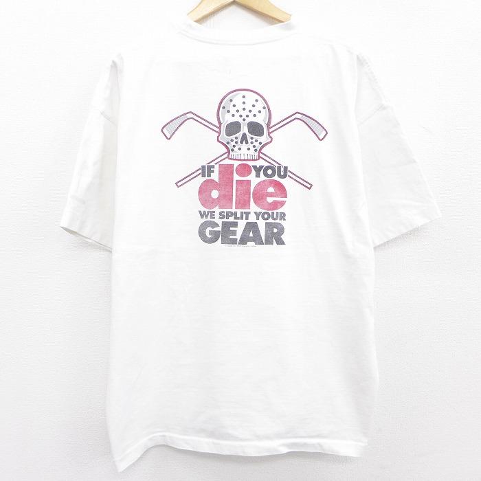 XL★古着 半袖 ビンテージ Tシャツ メンズ 90年代 90s ホッケー スカル 大きいサイズ コットン クルーネック 白 ホワイト 【spe】 21jun08 中古