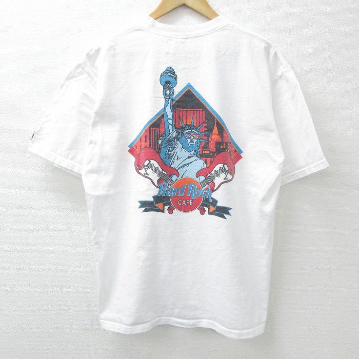XL★古着 半袖 ビンテージ Tシャツ メンズ 90年代 90s ハードロックカフェ ニューヨーク 自由の女神 コットン クルーネック USA製 白 ホワイト 【spe】 21jul19 中古