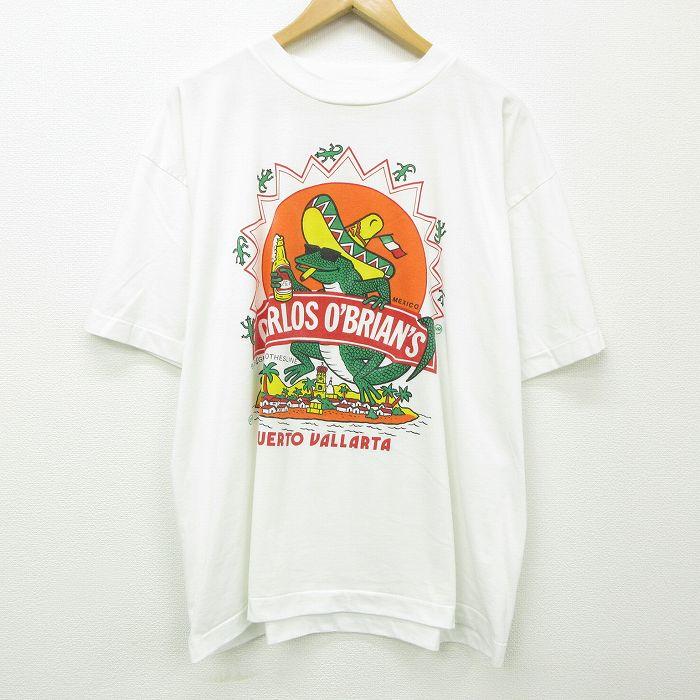 XL★古着 半袖 ビンテージ Tシャツ メンズ 90年代 90s トカゲ メキシコ 大きいサイズ クルーネック 白 ホワイト 【spe】 21jul20 中古