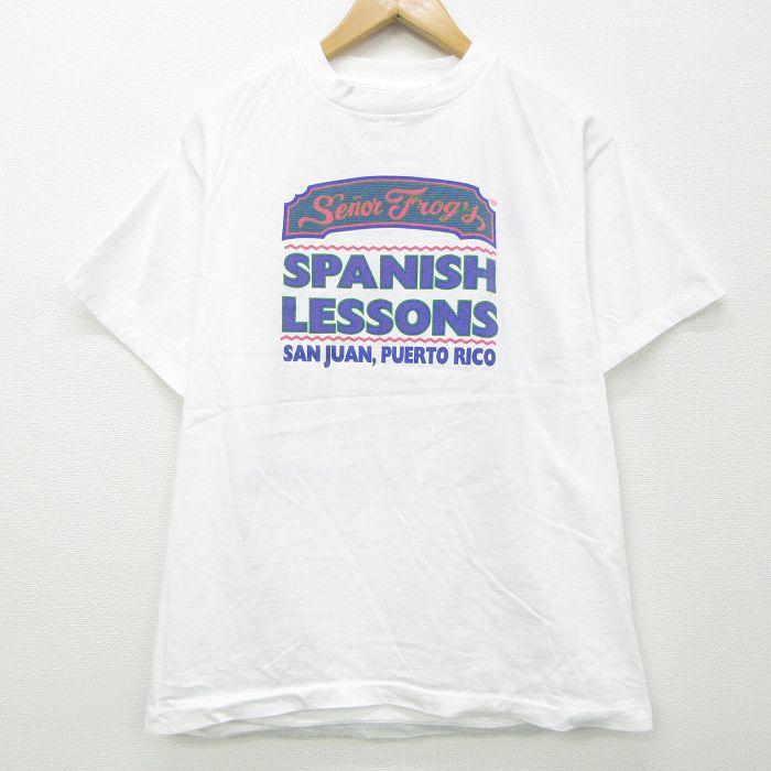L★古着 半袖 ビンテージ Tシャツ メンズ 90年代 90s Senor Frogs カエル コットン クルーネック USA製 白 ホワイト 【spe】 21jul20 中古