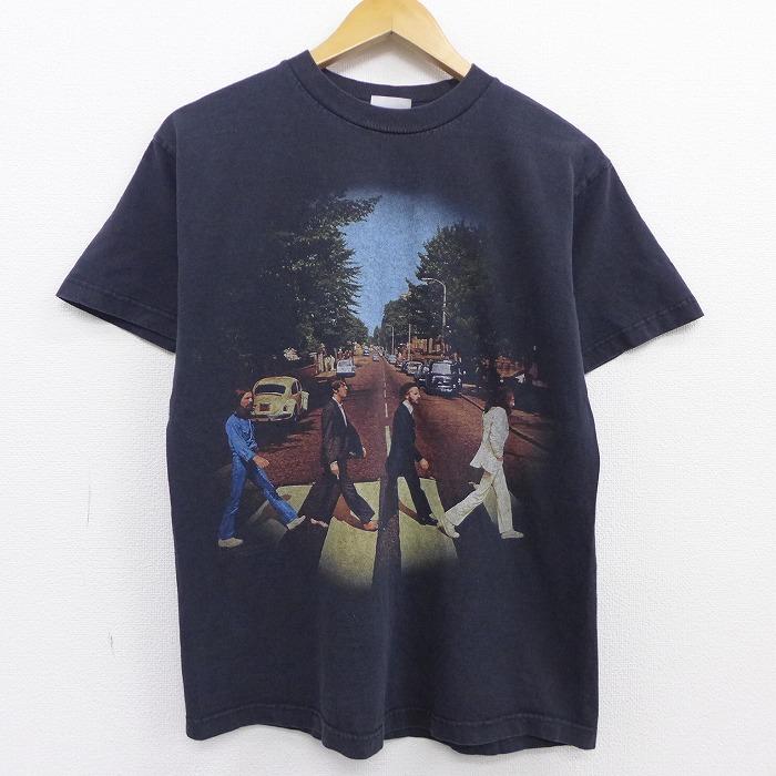 M★古着 半袖 ビンテージ ロック バンド Tシャツ 90年代 90s ビートルズ The Beatles コットン クルーネック 黒 ブラック 【spe】 20jul29 中古 メンズ