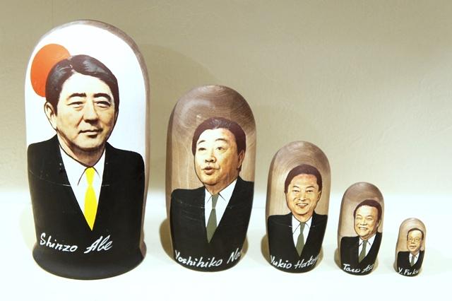 日本の首相(安倍・野田・鳩山・麻生・福田)マトリョーシカ 5ピース/17cm