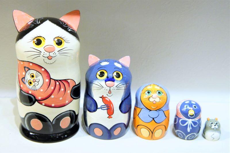 ネコの親子 マトリョーシカ<黒ブチネコ・ネコの赤ちゃん> 5ピース Lサイズ/17cm