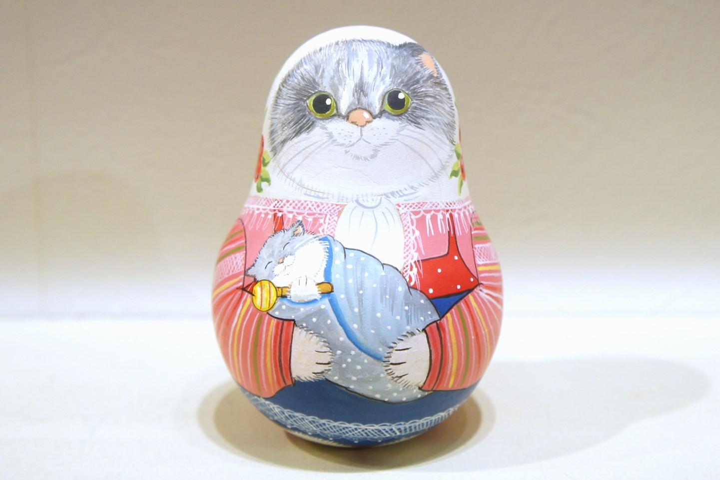 バボーヴァ作 ベル型ネヴァリャーシカ(起き上がりこぼし) 2種類 <キジネコちゃん><赤ちゃんとネコ>/ 9.2cm