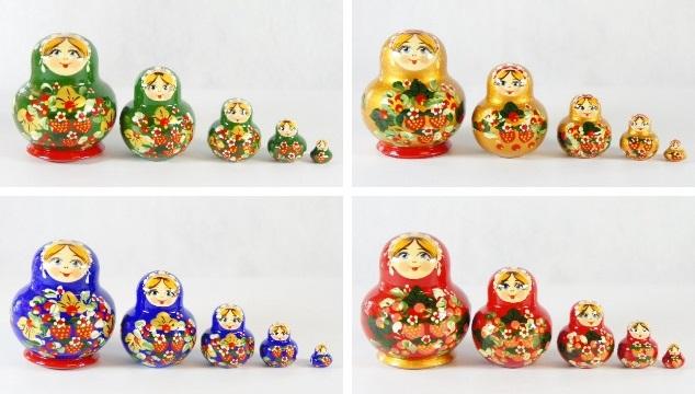チェーホヴァ作 イチゴがいっぱい!ダルマ型ミニマトリョーシカ 5ピース<イチゴ> 4色 /4.5cm