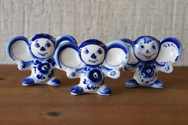 グジェーリ陶器 チェブラーシカ人形 Aタイプ /6.5cm