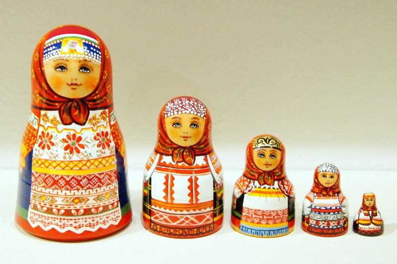 ダラフェエヴァ作 ボトル型民族衣装マトリョーシカ 5ピース<カルーガ、オリョール、クルスク、トゥーラ、リャザン> /9.8cm