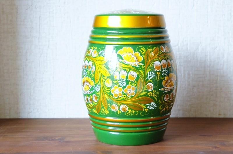 ホフロマ塗り 緑色 スズラン&ベリー フタ付入れ物 / 高さ22cm×直径16cm【送料無料】