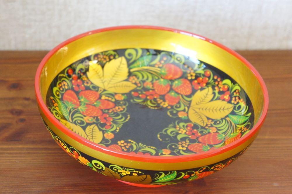ホフロマ塗り イチゴ&ベリー 両面柄入り高台大鉢  φ20.5×8cm