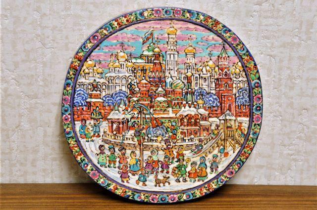 ラーティシェヴァ作 古き良きモスクワ  ウッドバーニング・円形ボード /15.2cm 【クリックポスト送付可】