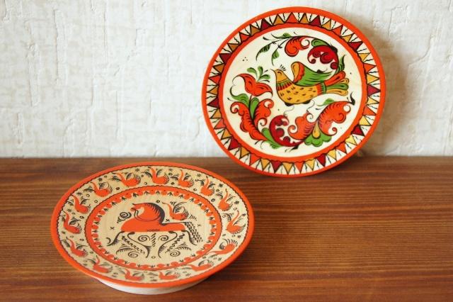 ロシアの伝統的工芸 木製小皿 <メゼーニ塗り><バロック塗り> Sサイズ 2種 φ11cm 【クリックポスト185円送付】