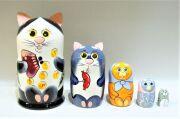 ネコの親子 マトリョーシカ<黒ブチネコ・お金> 5ピース Lサイズ/17cm