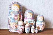 ダノーヴァ作 民族衣装マトリョーシカ 5ピース <生成ずきんちゃん/赤ちゃんとネコ> / 18.5cm【送料無料】