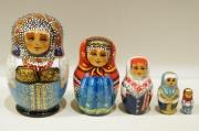 ダラフェエヴァ作 民族衣装 ひょうたん型マトリョーシカ 5ピース<オロネツ、ヤロスラーヴリ、ヴォログダ、ニジニ・ノヴゴロド、トウーラ>/8.5cm