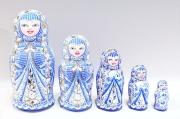 フィラートヴァ作 「祈り」キラキラ!スリムマトリョーシカ 5ピース<青紫> /13.8cm 【送料無料】
