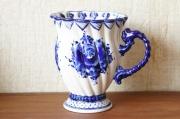ロシアの陶器 グジェーリ焼 フラワーベース兼ウォーターピッチャー /φ12(16)×15cm