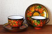 ホフロマ塗り 陶器製 ティー/コーヒー兼用 カップ&ソーサー <黒地にベリー模様>