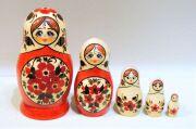 キーロフ・マトリョーシカ(M) <赤い花> 5ピース/10.5~11.2cm