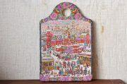 ラーティシェヴァ作 古き良きモスクワ ウッドバーニング・カッティングボード型飾り板 30×20cm【送料無料】