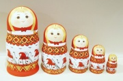 マルンコーヴァ作 メゼーニ塗り 赤ずきんちゃんマトリョーシカ(M) 5ピース 3種類 /約18cm