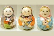 マリヤ・ドミートリエヴァ作 ウッドバーニングネヴァリャーシカ(起き上がりこぼし)3種 /9cm 【送料無料】