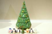 ダリヤ・ミッチナ作 クリスマス・ヨールカ(ツリー)マトリョーシカ <雪だるま&ペンギン&ツリー> 7+1ピース/14.5cm