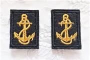 ロシア海軍 ВМФ(VMF) 襟章2個セット 常勤服用(縦型) ベルクロ付 【クリックポスト送付可】