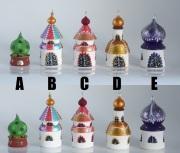 タマラ作 ロシア正教寺院小箱 <クーポラ5つタイプ>  2種類 /φ5.3×h9.5cm