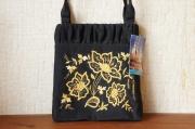 トルジョーク金糸刺繍 シルク手提げバッグ <優しさ> 20×18.5×3cm 【クリックポスト送付可】