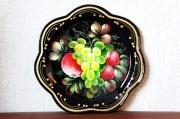 ジョストヴォ塗り ピンガチョーヴァ作 花形金属トレイ <ブラック/フルーツ> / 直径21.5cm