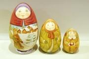 ズヴェーレヴァ作 卵型風景マトリョーシカ <冬 Зима> 3ピース/15cm 【送料無料】