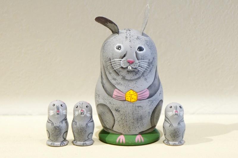 ニキーチン工房作 ネズミの親子マトリョーシカ 3+1ピース /8cm