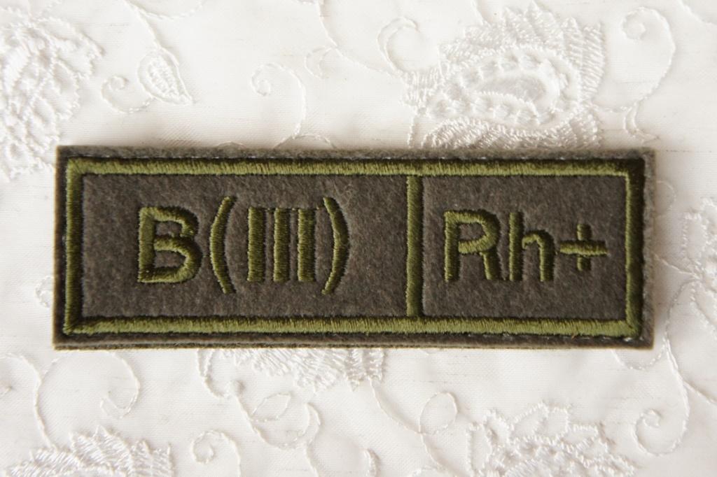ロシア軍 血液型パッチ B型(3型) Rh+(プラス) 戦地用 /ベルクロ(マジックテープ)付 【クリックポスト送付可】
