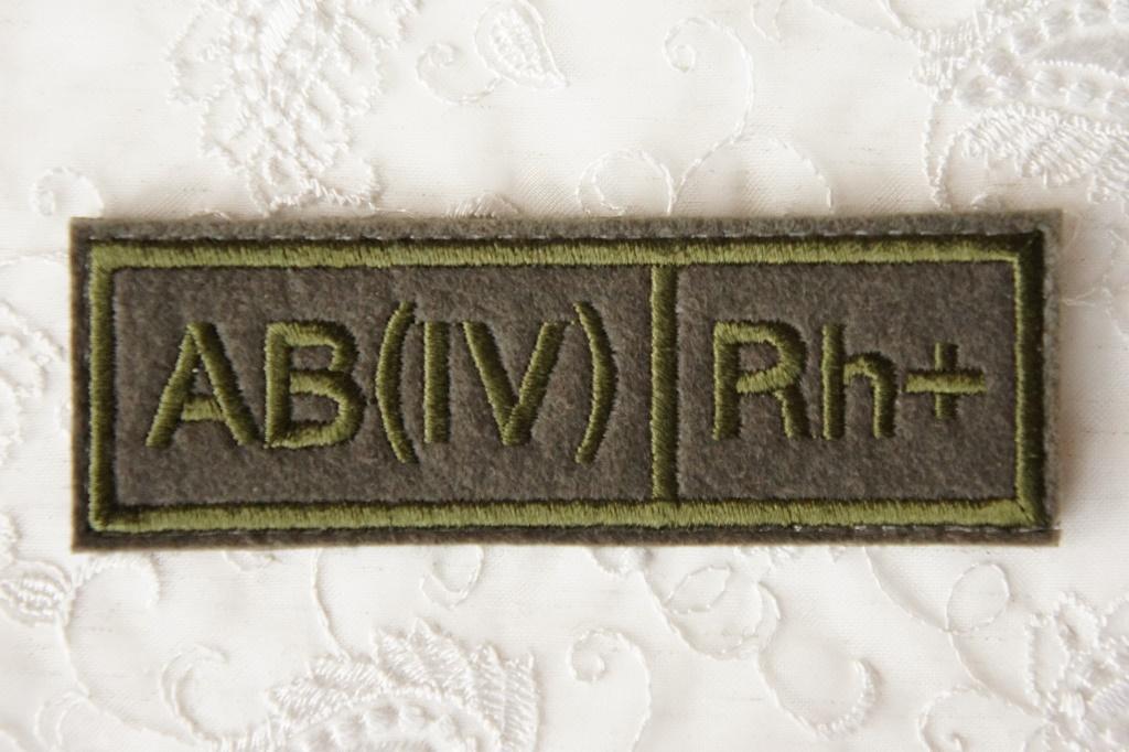 ロシア軍 血液型パッチ AB型(4型) Rh+(プラス) 戦地用 /ベルクロ(マジックテープ)付 【クリックポスト送付可】