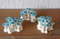 辻本路 陶器製ハンドメイド 青きのこオブジェ