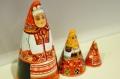 ダラフェエヴァ作 民族衣装 三角マトリョーシカ 3ピース<リャザン、ダンコフ、リャザン> /15cm