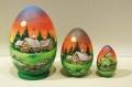 ロシアの風景 卵型マトリョーシカ 3ピース<夕暮れの村> 2種類/10cm
